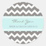 Grey Blue Chevron Thank You Wedding Favour Tags Round Stickers