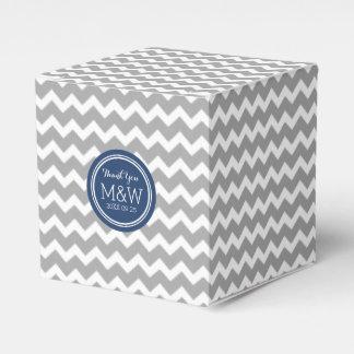 Grey Blue Chevron Wedding Monogram Favor Box