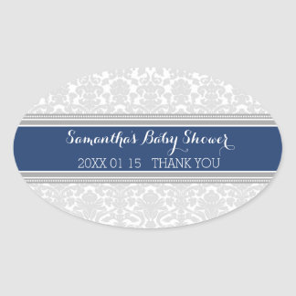 Grey Blue Damask Baby Shower Favor Stickers