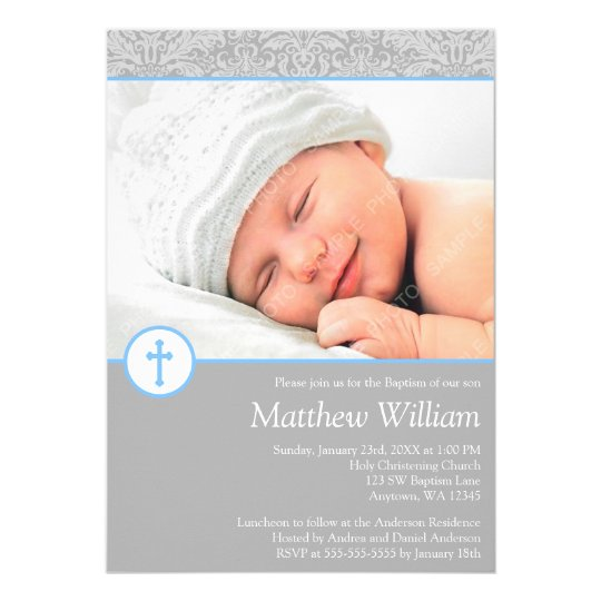 Grey Blue Damask Cross Boy Photo Baptism Card