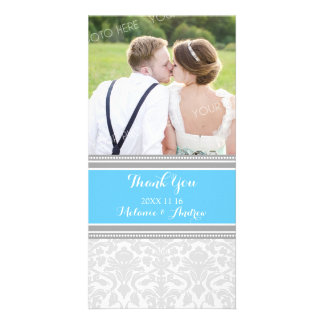Grey Blue Damask Thank You Wedding Photo Cards