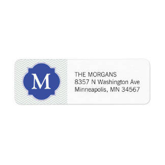 Grey & Blue Modern Chevron Custom Monogram Return Address Label