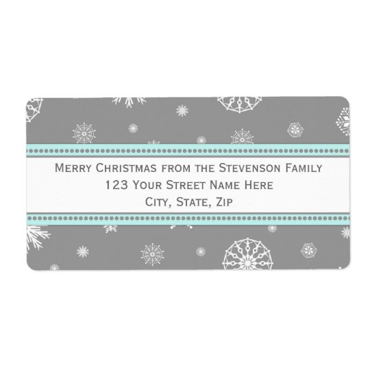 Grey Blue Snowflakes Christmas Address Labels