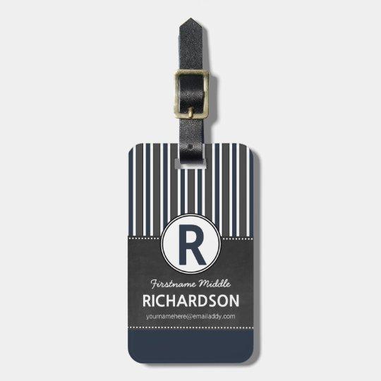 Grey Blue Stripes Chalkboard Monogram Luggage Tag