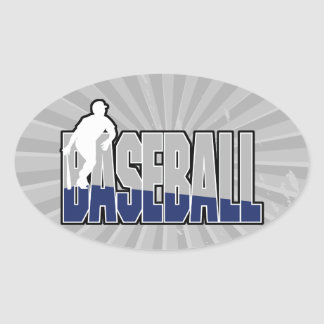 grey blue white baseball text and player silhouett oval sticker