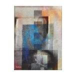 Grey & BlueGeometric Industrial Grunge Art 6 Canvas Print