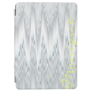 grey blurred zigzag personalized by name iPad air cover