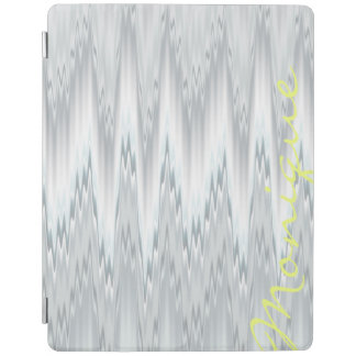 grey blurred zigzag personalized by name iPad cover