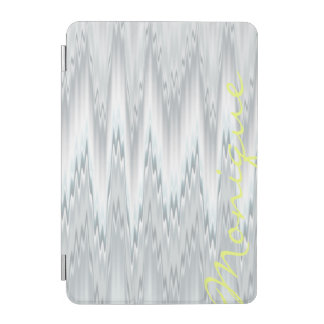 grey blurred zigzag personalized by name iPad mini cover