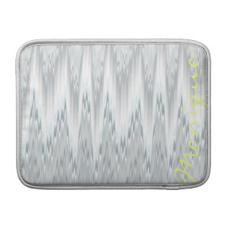 grey blurred zigzag personalized by name sleeve for MacBook air