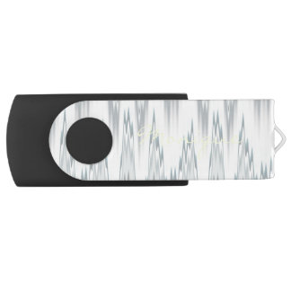 grey blurred zigzag personalized by name USB flash drive