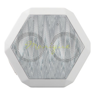 grey blurred zigzag personalized by name white bluetooth speaker