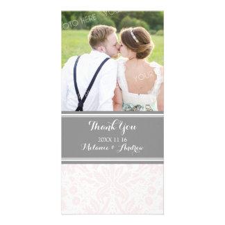 Grey Blush Damask Thank You Wedding Photo Cards