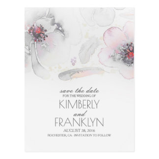Grey Boho Floral Feather Watercolor Save the Date Postcard