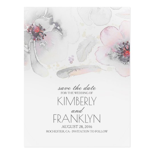 Grey Boho Floral Feather Watercolor Save the Date