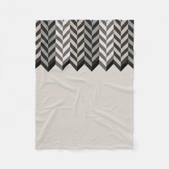 Grey Bordered Herringbone Stripes Pattern Fleece Blanket