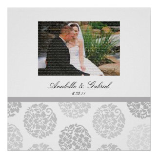 Grey Bouquet Wedding Photo Collage Framed Wall Art Print