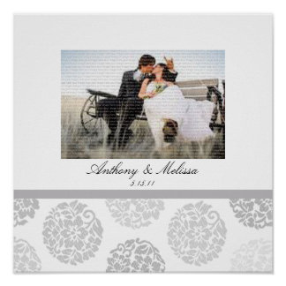 Grey Bouquet Wedding Photo Collage Wall Art Poster