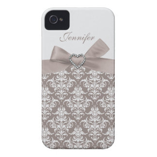 Grey Bow & Grey Damask Print Jewels iPhone Case iPhone 4 Case