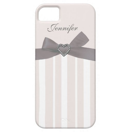 Grey Bow with Print Jewels & Stripes iPhone Case iPhone 5 Case