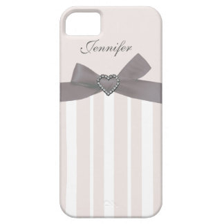 Grey Bow with Print Jewels & Stripes iPhone Case iPhone 5 Cases