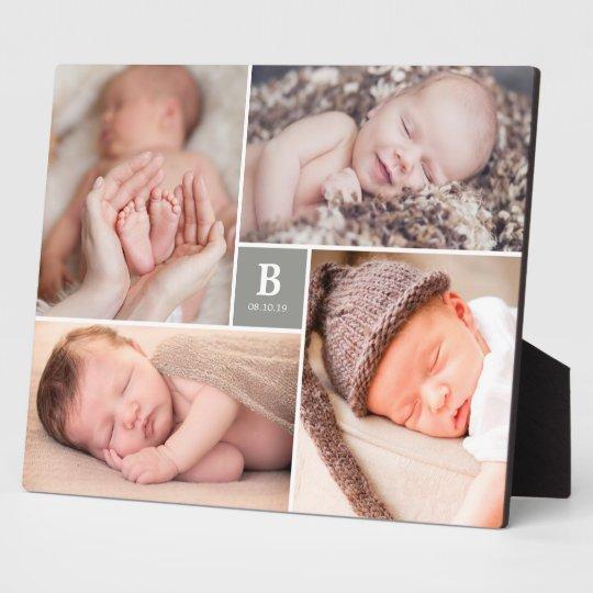 Grey Box Timeless Monogram Baby Birth Photo Easel
