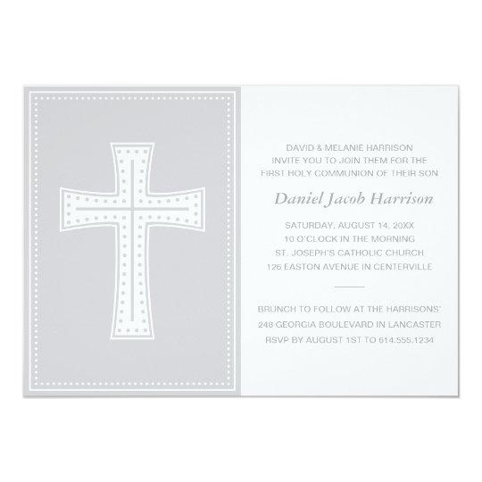 Grey Boys First Communion Card