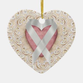 Grey Brain Cancer Ribbon From the Heart - SR Ceramic Heart Decoration