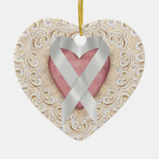 Grey Brain Cancer Ribbon From the Heart - SR Christmas Ornament