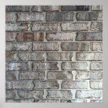 Grey Brick Wall Grunge Bricks Background Texture Poster