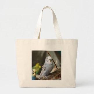 Grey Budgie Bird Canvas Bag