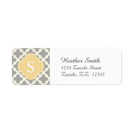 Grey & Buff Modern Moroccan Quatrefoil Monogram Return Address Label