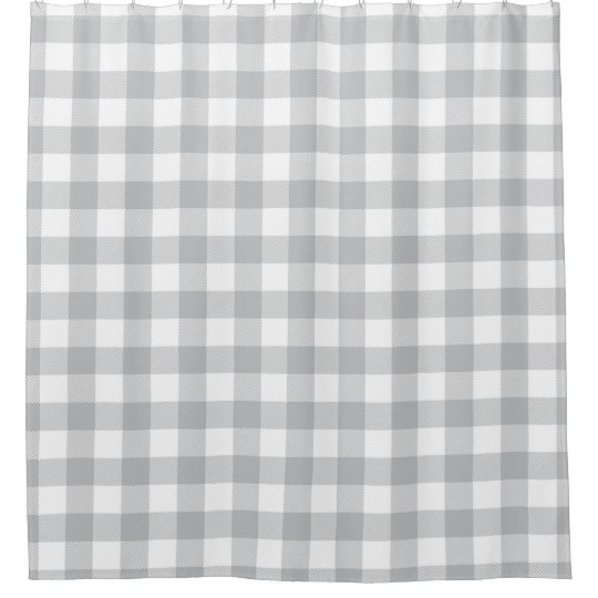 Grey Buffalo Plaid Chequered Pattern Shower Curtain