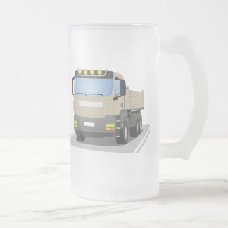 grey building sites truck frosted glass beer mug