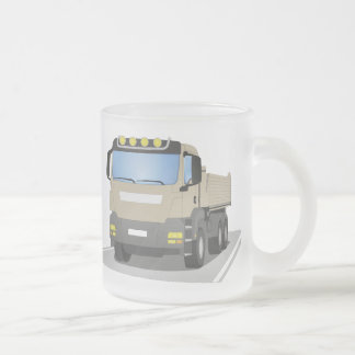 grey building sites truck frosted glass coffee mug