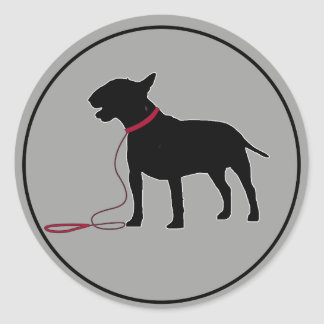 Grey Bull Terrier Classic Round Sticker