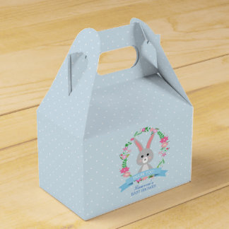 Grey Bunny and Floral Wreath baby shower party Favour Box