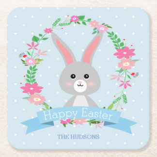 Grey Bunny and Floral Wreath Square Paper Coaster