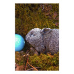 Grey Bunny, Blue Golf Ball Stationery Paper