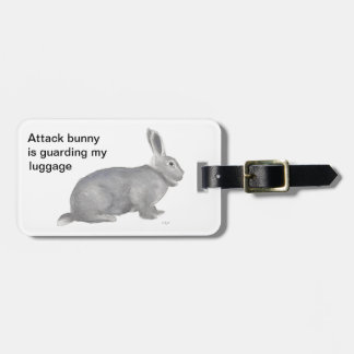 Grey bunny rabbit watercolor on items luggage tag