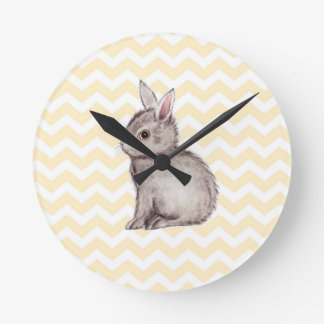 Grey bunny watercolor painting on yellow chevron clock