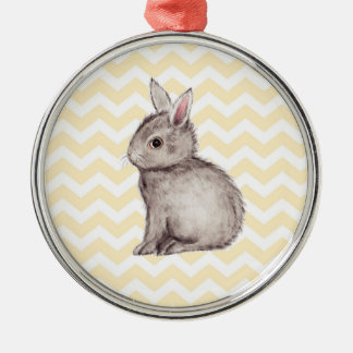 Grey bunny watercolor painting on yellow chevron Silver-Colored round decoration