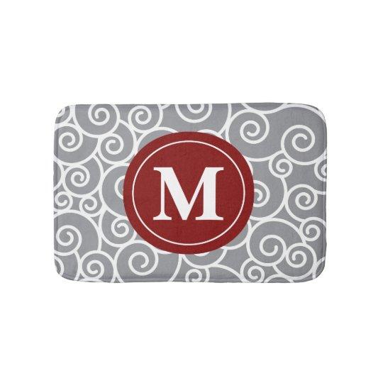 Grey burgundy Swirls Monogram Bathmat Bath Mats