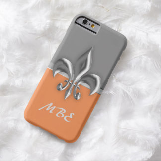 Grey burnt orange Silver Fleur de Lis Barely There iPhone 6 Case