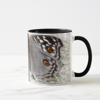 Grey Butterfly Colour Image - Black Ringer Mug