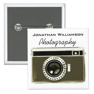Grey Camera Photography Business 15 Cm Square Badge