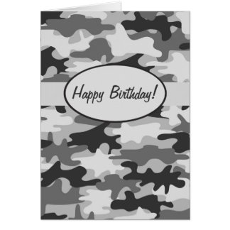 Grey Camo Camouflage Happy Birthday Custom Card