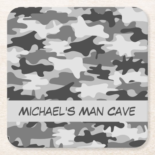 Grey Camo Camouflage Name Personalised Man Cave Square
