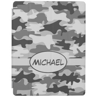 Grey Camo Camouflage Name Personalized iPad Cover