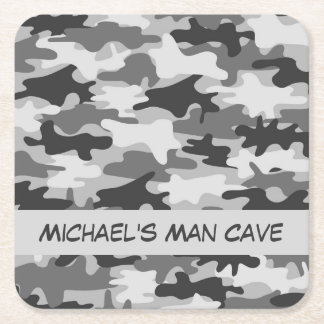 Grey Camo Camouflage Name Personalized Man Cave Square Paper Coaster